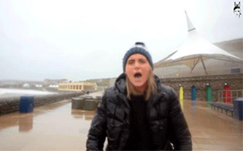 funny gifs, aquaman fish hits woman