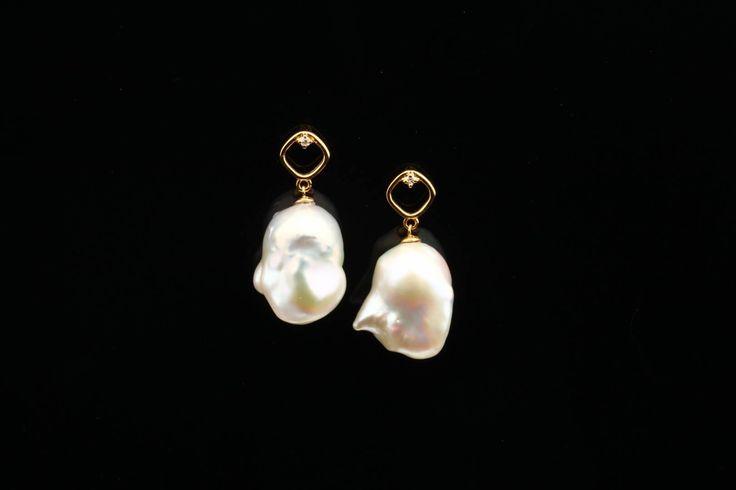 Cultured Freshwater Pearl & Diamond Post Earrings - http://www.hubertgem.com/shop/shop-earrings/cultured-freshwater-pearl-diamond-post-earrings/