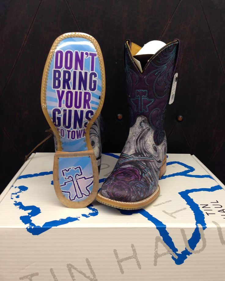 Women's Tin Haul boots!! 1. Awesome boots 2. Johnny Cash quote and 3. crossed pistols these are the best things ever!!!