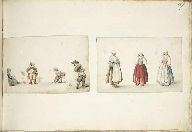 Four children defecating; three women standing. Gesina ter Borch, ca. 1646 - ca. 1654