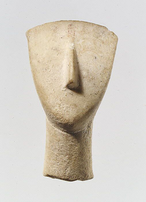 Head and neck from a marble figure   early Cycladic   Stone Sculpture