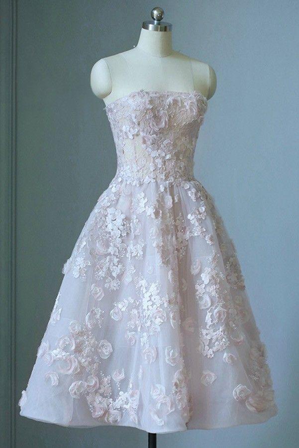 Shop Gorgeous Strapless Beaded Flowers Tea Length Wedding Dress
