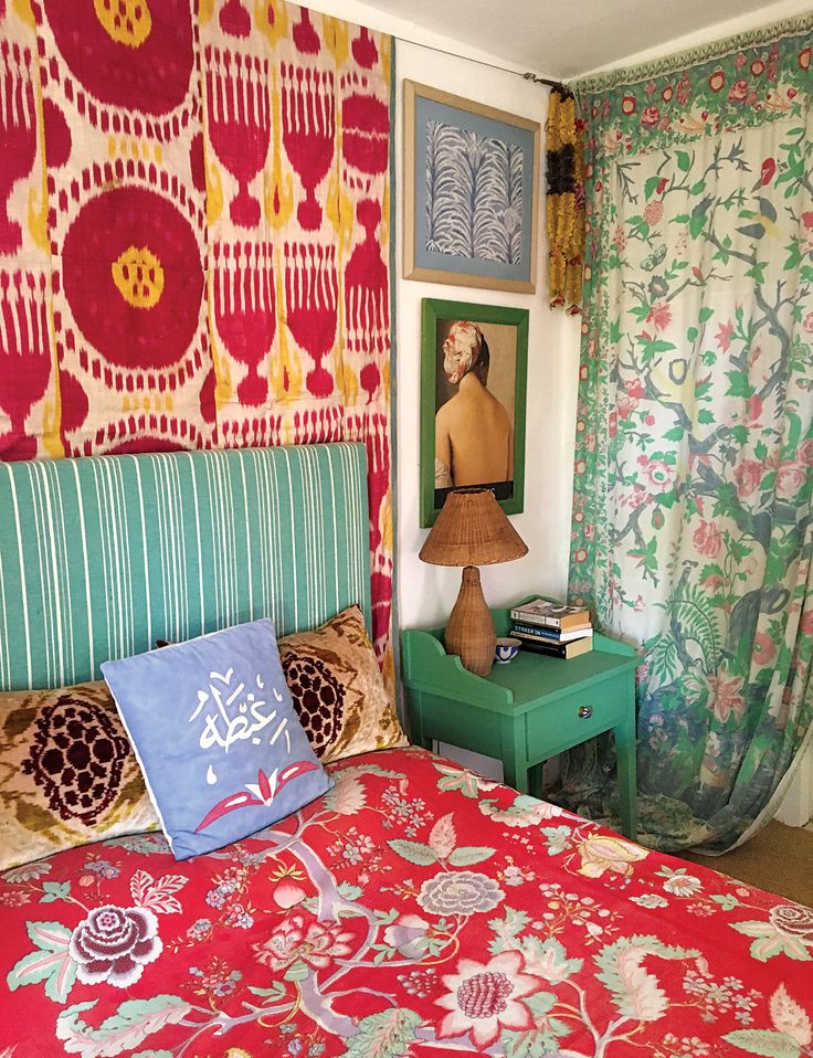 """""""My guest room in Bodrum. The two velvet cushions are Yastik, and the bedspread was a fabric designed by Billy Baldwin for Diana Vreeland. It was given to Marguerite Littman, who gave it to me."""" - Rifat Ozbek"""