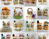 Owl love bird wedding cake topper with nest and banner, autumn wedding, green brown owls. $89.00, via Etsy.