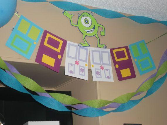 Monsters Inc. birthday party banner, door banner, Monsters University, Boo's door on Etsy, $22.00