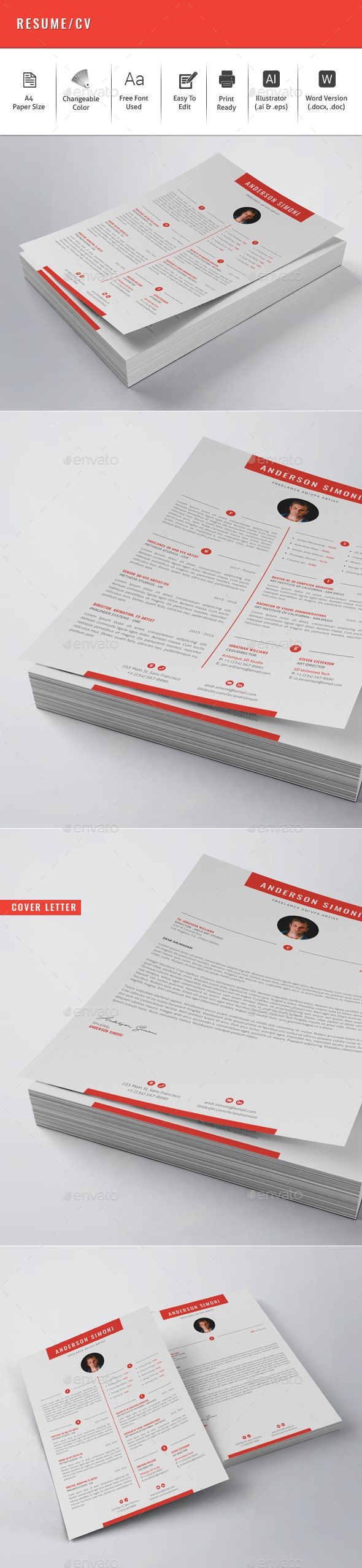 Resume Pdf Or Word Download%0A Resume   CV Template Vector EPS  AI  MS Word