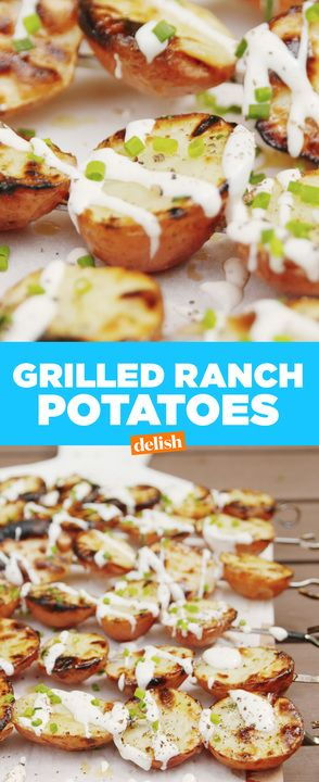 Grilled potatoes ... how have we not thought of this before? Get the recipe at Delish.com.