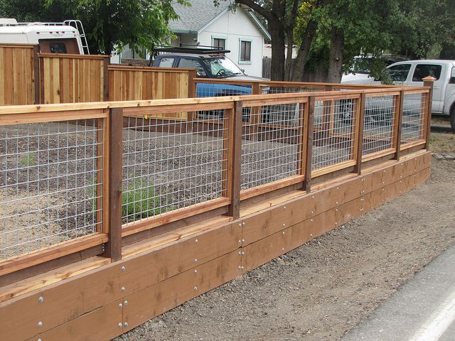 Hog wire fence.  Child safe and view friendly.  Like this for the deck.