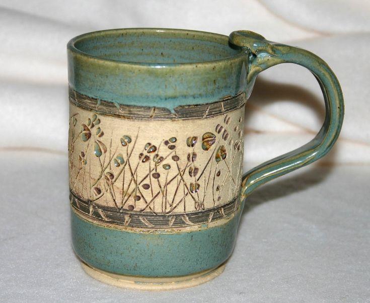Ceramic Pottery Mug / Carved Flowers.