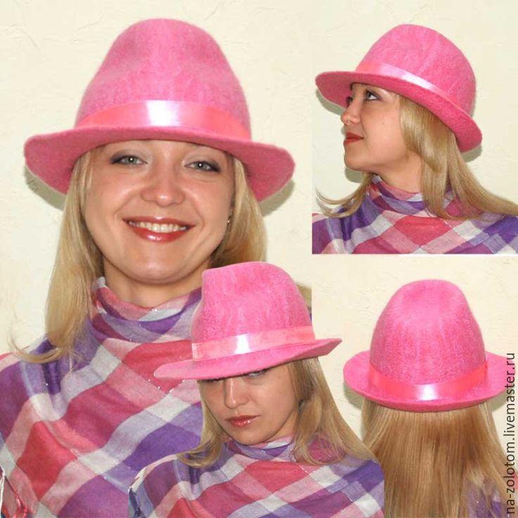 """Купить Шляпа федора """"Розовая"""" - розовый, однотонный, розовая шляпа, федора, женская шляпа"""