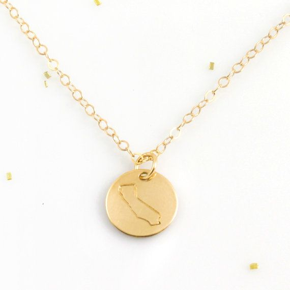 State Necklace California Necklace Gold by tamedandawesome on Etsy