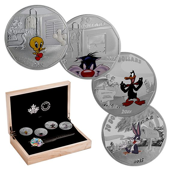 Canada Coins - Looney Tunes (TM) - 1 oz. Fine Silver 4-Coin Subscription and Wrist Watch (2015)