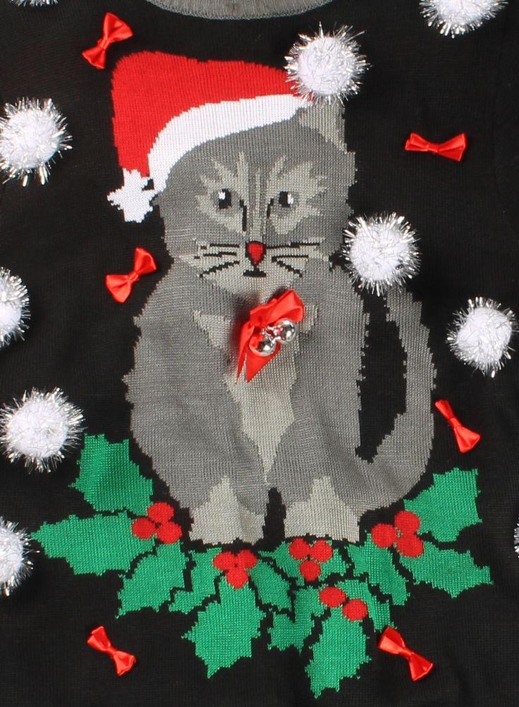 Women's Ugly Cat Christmas Sweater w/ Bells