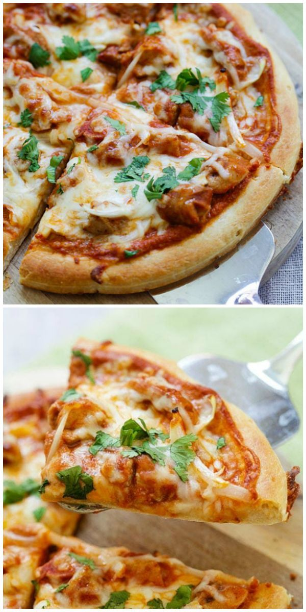 Chicken Tikka Masala Pizza Cheesy Indian Pizza Topped With Delicious Chicken Tikka Masala The Best An Indian Pizza Tikka Masala Pizza Pizza Recipes Homemade