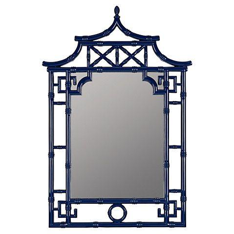 Chinoiserie Bamboo Mirror, Cobalt $319.00