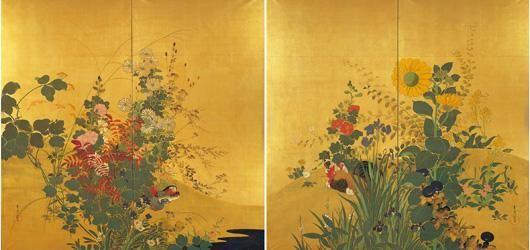 Suzuki Kiitsu鈴木其一(1796ー1858)「四季花鳥図」