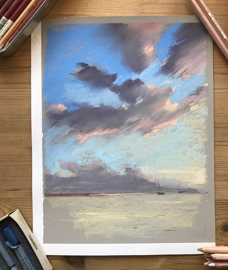 Кремовые облака и мягкая-мягкая пастель #pastelart #softpastel #kalachevaschool #seapicture