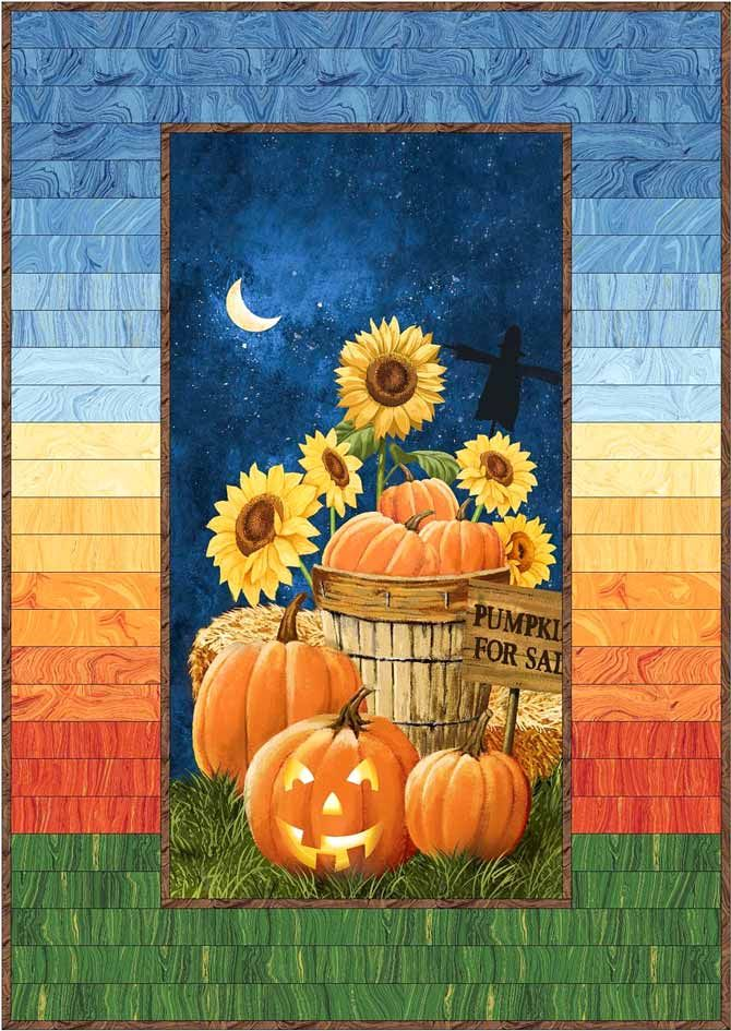 Yesterday I showed you how to use the Northcott Canyon Cliffs panel along with Sandscapes fabrics to make a quick quilt. Today I'll show you a variation of that border design using the Pumpkins for Sale panel from Northcott. This panel and its...