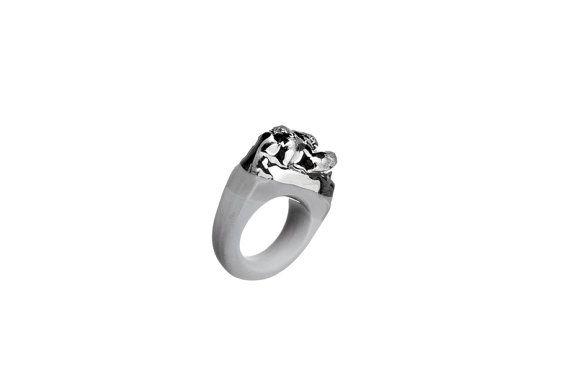 porcelain jewelry, WHEN - porcelain ring, platinumplated, ring, platinum, unique ring, unique, handmade ring, little sculpture, ceramic