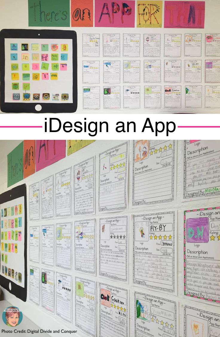 iDesign an App project for kids. Great for STEM, STEAM and project based learning in the classroom. Each child designs their own app - writes all about it and designs the logo onto a sticky note that then gets put onto a collaboration tablet poster.