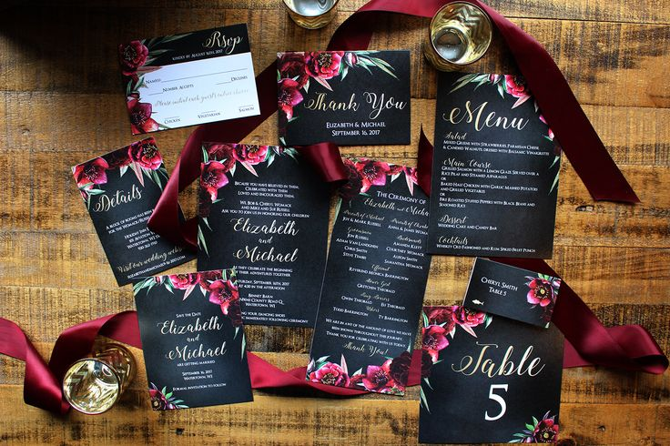 Downloadable Burgundy & Merlot Floral and Chalkboard with Gold Calligraphy Wedding Stationery Suite : DCo Lovenotes by DColovenotes on Etsy https://www.etsy.com/listing/464989882/downloadable-burgundy-merlot-floral-and