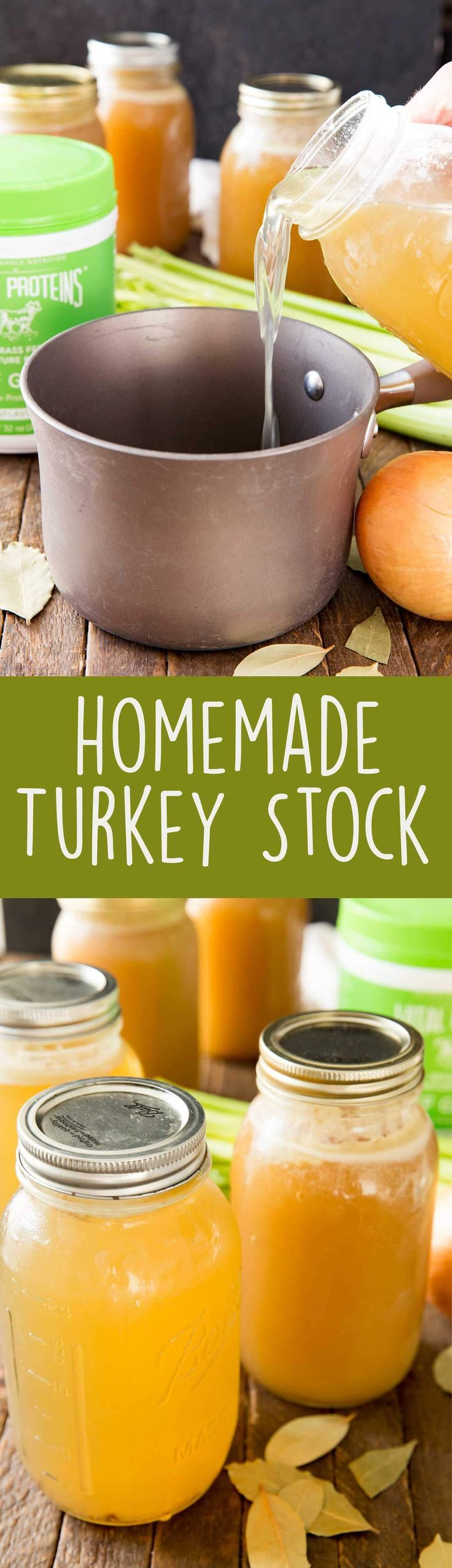 How to Make Homemade Turkey Stock and store it. It is healthy, delicious, and so easy to make in your crock pot! - Eazy Peazy Mealz #ad