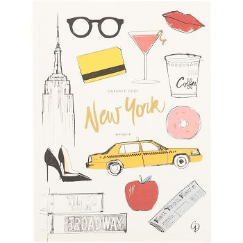 double-sided notebook, a Paris sketchbook with blank pages on one side and a New York mem
