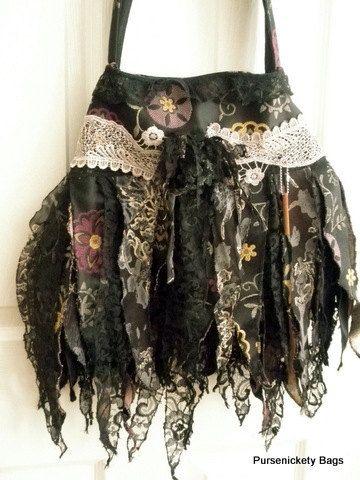 Gypsy Bag, large Shabby Chic bag, Soft Fringe Bag, Faerie Bag