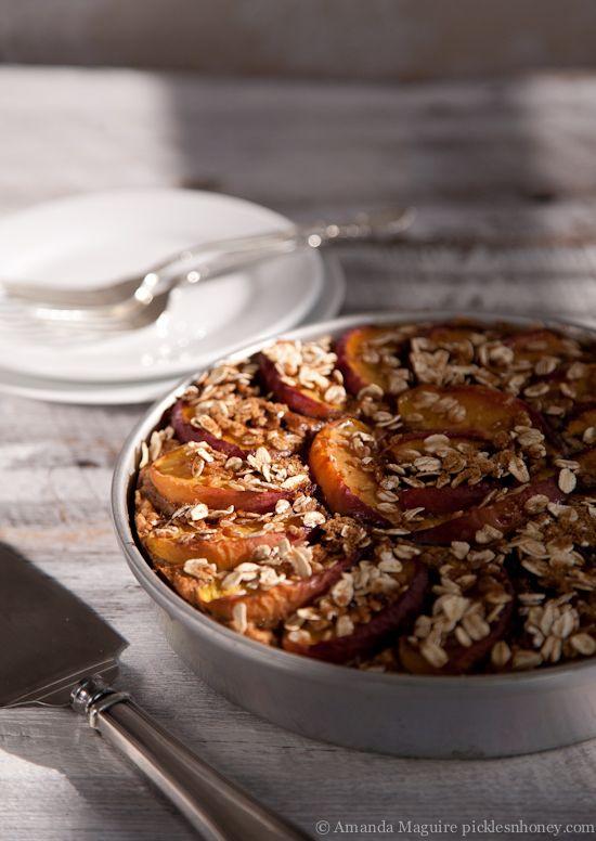 Nektarine-Garniert Haferflocken Kuchen