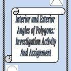 This is an activity designed to lead students to the formulas for:  one interior angle of a regular polygon the interior angle sum of a regular pol...