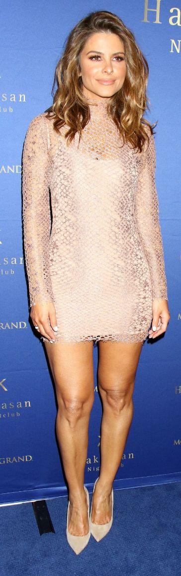 Who made Maria Menounos' tan lace dress?