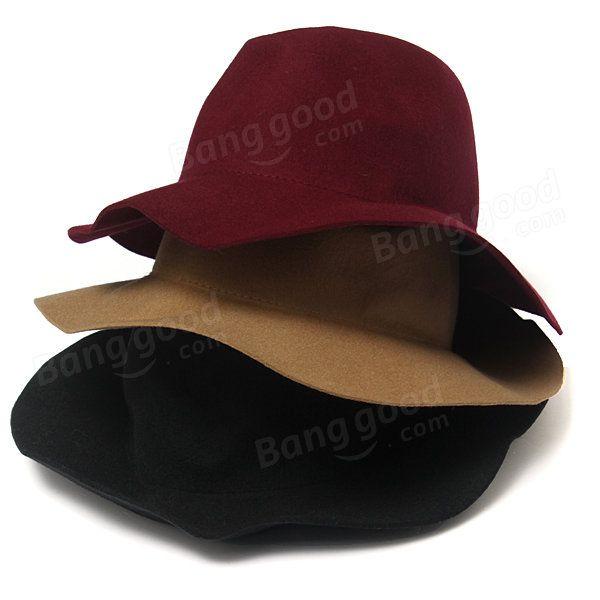 Women Ladies Jazz Vintage Wool Bowler Trilby Fedora Cap Wide Brim Cowboy Hat at Banggood  #women #fashion #accessories