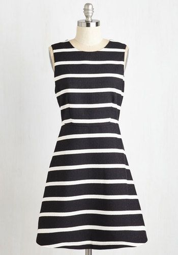 Lyons, Tigers and Wears Dress - Multi, Black, Stripes, Print, Casual, A-line, Sleeveless, Woven, Good, Mid-length