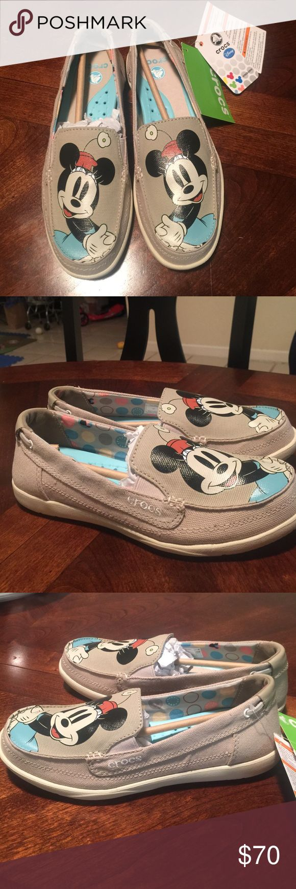 Disney Minnie Mouse Crocs Mickey size 7 These are soft brand new never worn Minnie Mouse Crocs adult size 7 from Disney parks. Tan/beige color. Slip ons canvas and leather. Made by Crocs. Make me an offer! CROCS Shoes Flats & Loafers