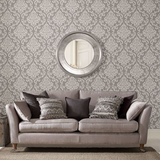 Indian Ink Damask Gray Mist Wallpaper Findlay House In 2019