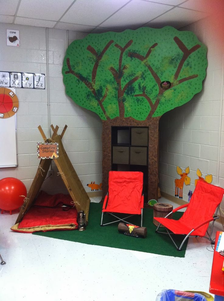 michaels camping theme bullitin board | reading corner that looks like a camp site.