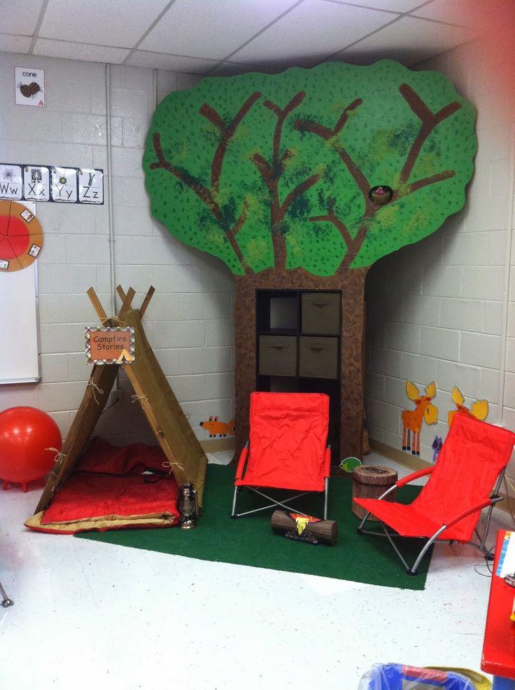 michaels camping theme bullitin board | reading corner that looks like a camp site.