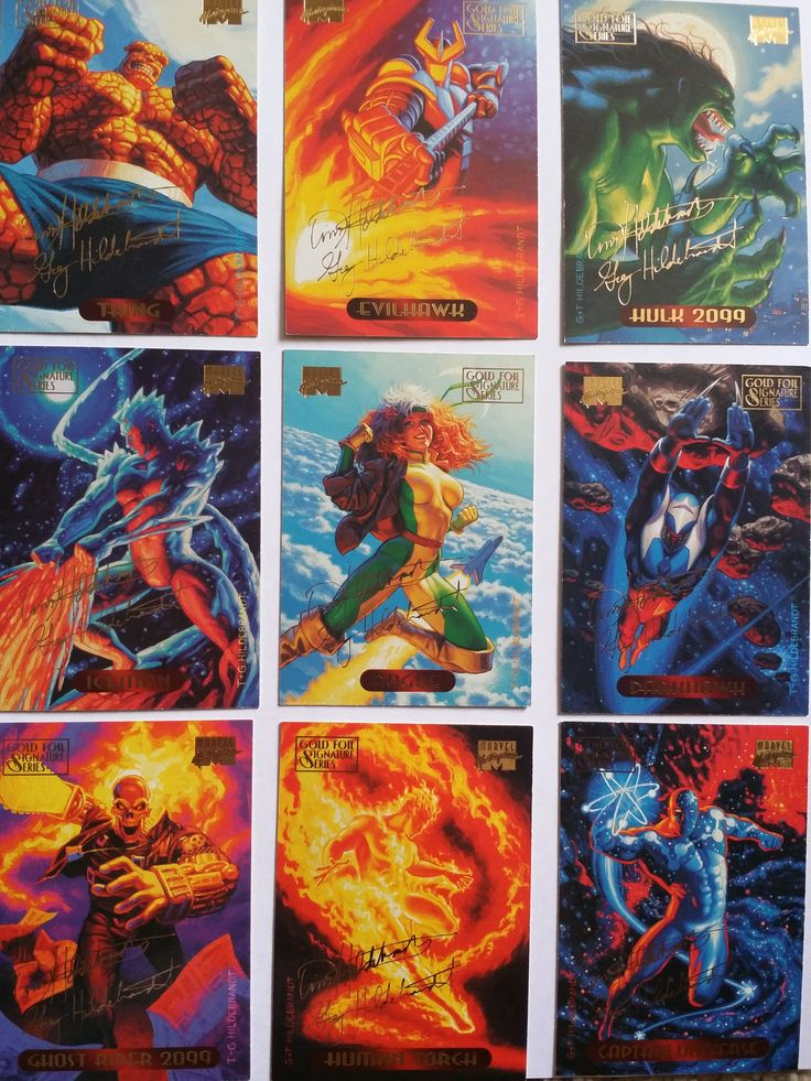 Marvel Masterpieces  Gold Foil Signature Series 1994 Fleer Corp T&G Hildebrandt Thing, Evilhawk, HUkk 2099, Ghost Rider 2099,M, Captain Universe,Human Torch, Darkhawk, Iceman, Rogue TRADING CARDS FOR SALE