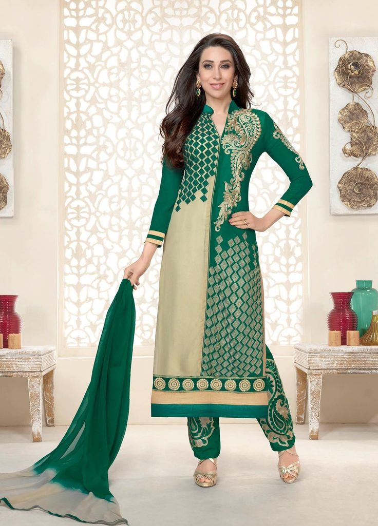 Green and Cream Colour #Georgette #Straightcut #Casualwear #Suit.