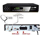 Nuevo Combinado Receptor TDT HD + Receptor satelital de TV HD Full HD TV Digital Terrestre receptor HD + España del satélite HD Decodificador Set Top Box sintonizador y Multi Digi Programa de TV registrador 1080P convertidor de la TV analógica a la televisión digital, reproductor multimedia HDMI y conexiones Scart DVB-T2 + DVB-S2 satélite ASTRA España 19:20 ° E & Hispasat 30W + programa grabador USB Free to Air FTA DVB-T / T2, DVB-S / S2 - (iView HD) (3 en 1 compac