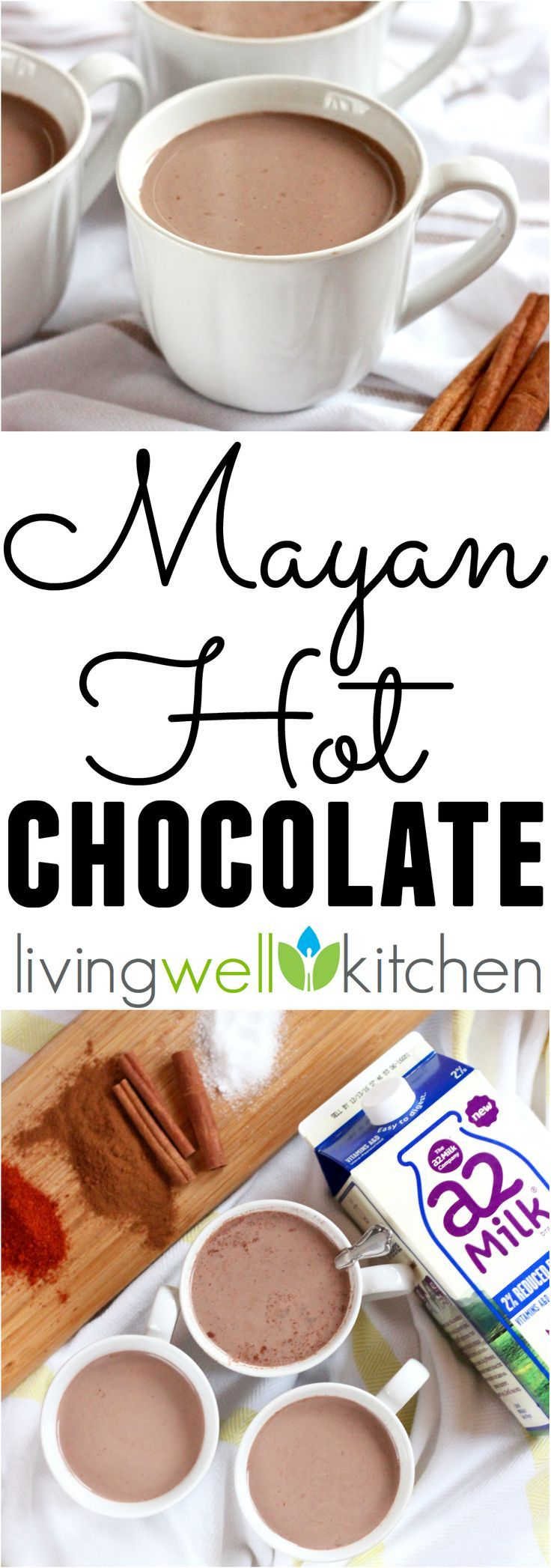 Spicy and sweet, this rich hot chocolate will satisfy your craving for a warm, comforting beverage. This Mayan Hot Chocolate recipe is made with a2 Milk to help make it easier to digest (Sponsored)