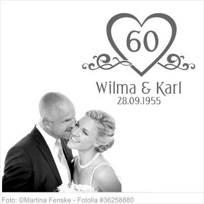 Wandtattoo Diamantene Hochzeit mit Namen und Datum