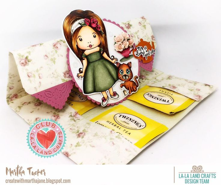 From our Design Team! Tea Bag holder by Martha for inspiration on La-La Land Crafts blog. Click on the photo for product list and coloring details