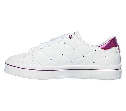 Skechers Kids' Bermuda Brights Memory Foam Sneaker Pre/Grade School Shoes (White/Multi)