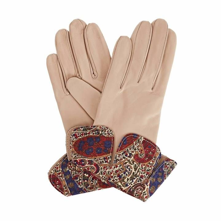 Gizelle Renee - Palesa Beige Leather Gloves With BM Liberty Tana Lawn