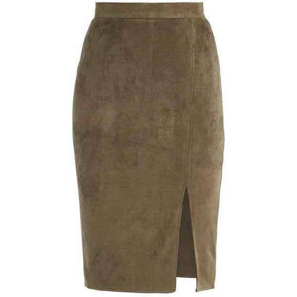 THIGH SPLIT Pencil skirt khaki (1,615 INR) ❤ liked on Polyvore featuring skirts, brown skirt, khaki skirt, khaki pencil skirts, khaki knee length skirt and pencil skirt