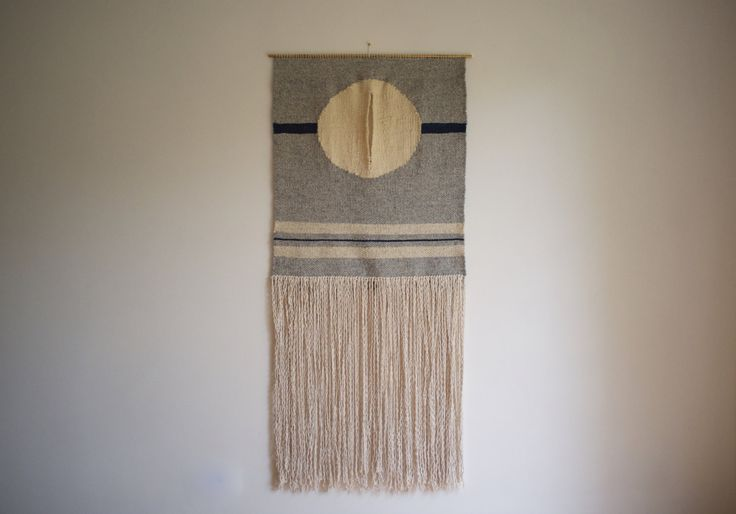 SOLD Woven wall hanging weaving  'Circle II' fibre