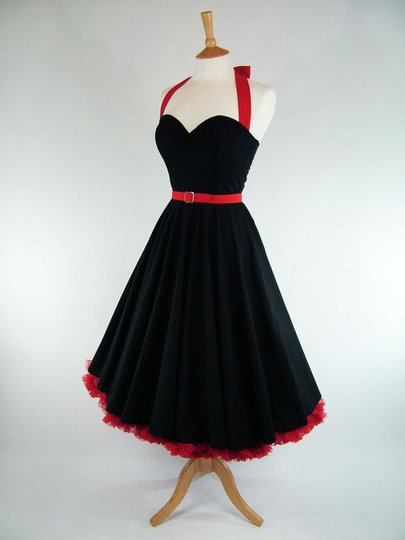 Made To Measure Black Full Circle Skirt Dress by GinAndSinEtsy