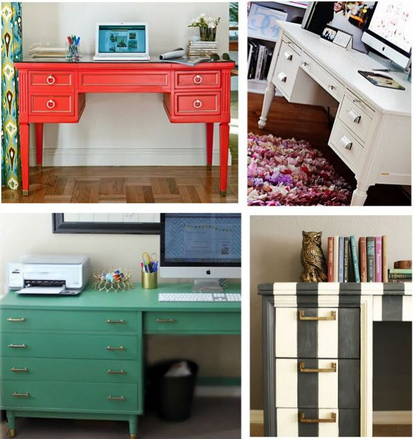 painted office furniture. secondhand sprucing office upgrades thrifting tips painted furniture e