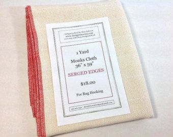 "One Yard Monks Cloth for Rughooking with Serged Edges, 36"" x 59"", J782"